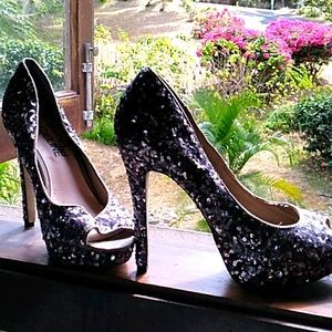 Madeline Girl Gunmetal Gray Sequin Shoes